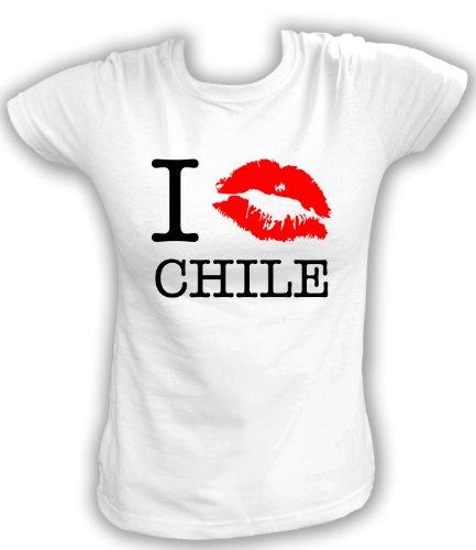 Bier Chile (Artdiktat T-Shirt I kiss Chile Damen, Größe XL, weiß)