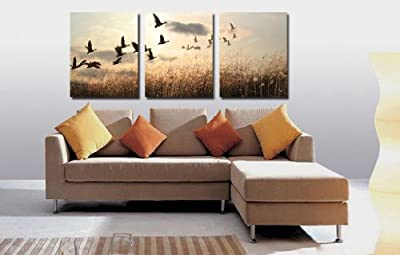 Canvas Print,Stretched and Framed,Landscape painting,The wild goose , Weeds,3 Panel Print, Ready to Hang,Canvas Wall Art for Home Decoration, Beautiful Decorative Picture, living room and bed room
