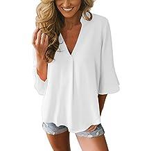 Aleumdr Mujer Blusa Cuello V Camiseta Túnica Color Puro Camisa Manga 3/4 para Mujer