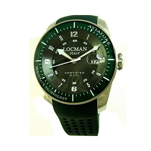 Montre Locman aviateur 0453V04–00grpsg au quartz (Batterie) titane Quandrante Vert Bracelet Cuir
