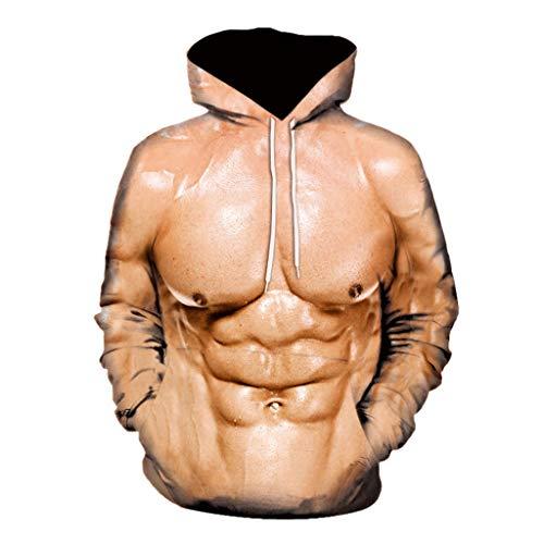 serliyHerren Holiday Ugly Muskel Hoodie Herren Unhöflich Muscle Sweatshirt Hirsch Party Kostüm Sweatjacke 3D Offensive Boobs Printed Rude Stag Sweater Kapuzenpulli Pulli Pullover Party