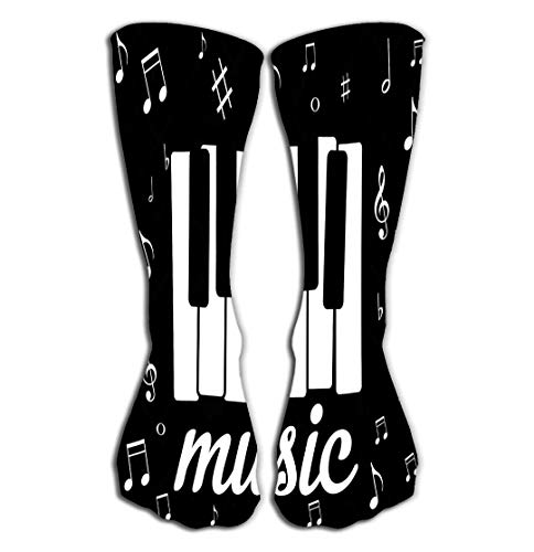 Xunulyn Hohe Socken Outdoor Sports Men Women High Socks Stocking Music icon Piano Musical Notes eps Character Tile Length 19.7