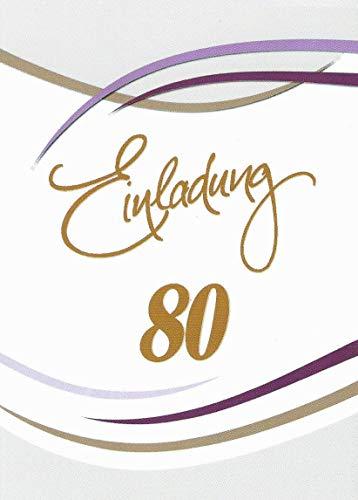 Einladungskarten 80. Geburtstag Frau Mann mit Innentext Motiv weiß Streifen 10 Klappkarten DIN A6 im Hochformat mit weißen Umschlägen im Set Geburtstagskarten Einladung 80 Geburtstag Mann Frau K96 (80. Geburtstag Einladungen)