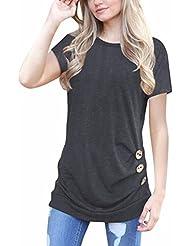 Malloom Femme manches courtes lâche bouton garniture chemisier couleur unie col rond tunique T-shirt