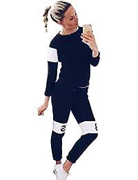 Baymate Chándal para Mujer Cartas Impresión Conjuntos Casual Sweatshirt Sudadera + Pantalones Deportivo