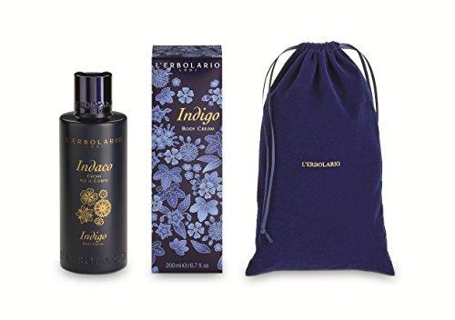 L'Erbolario Indaco - Crema per il corpo con sacchetto di velluto, 200 ml