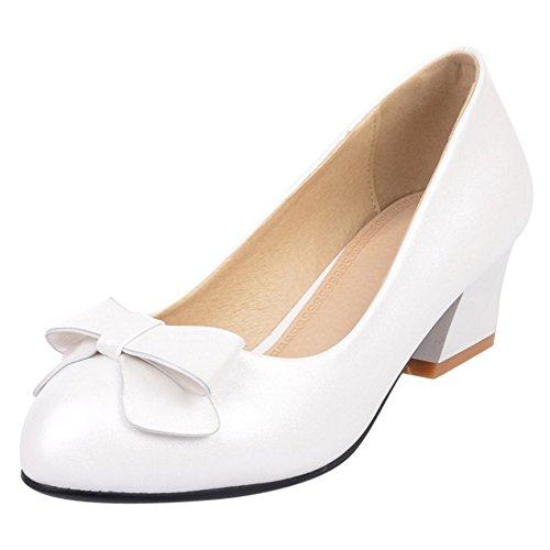 COOLCEPT Damen Mode Slip On Pumps Geschlossene Blockabsatz Schuhe Mit Bogen White