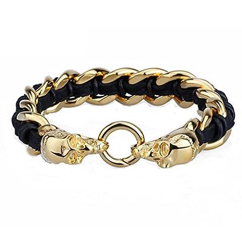 GYJUN Hip Hop Style inox bijoux 18k or crâne charme et Bracelets de cuir pour hommes , one size