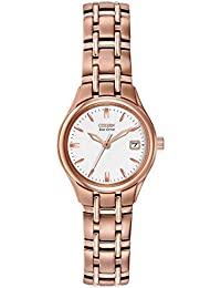 Citizen Watch Silhouette Women's Quartz Watch with White Dial Analogue Display and Rose Gold Stainless Steel Gold Plated Bracelet EW1263-52A