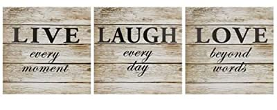 Set of 3 Live Love Laugh Quote Vintage Wooden Style Canvas Wall Art Home Room