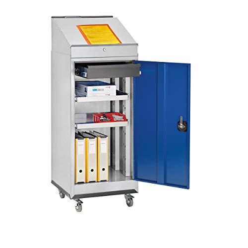 QUIPO Stehpult-Kombiset - Werkzeugschrank, Schreibpult und Rolluntersatz - Tür enzianblau -...