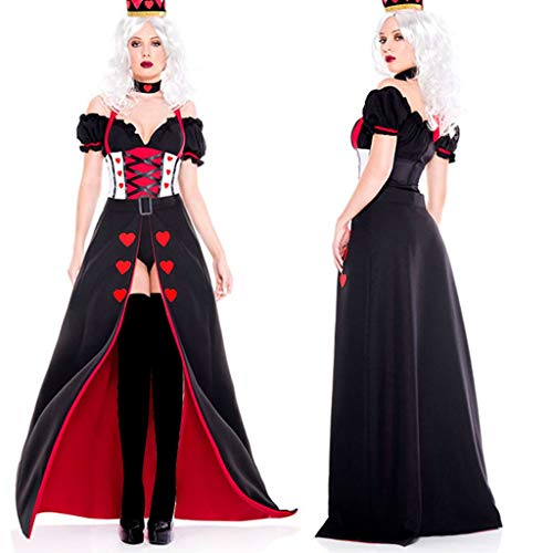 Patifia Damen Halloween Kleider Königin Kostüm Cosplay Frauen Retro Outfits Sexy V-Ausschnitt Blusen Top+ Kopfbedeckung+ Schürze Kleider Partykleid (Sexy Retro Kostüm)
