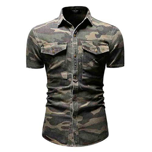 BfmyxgsMänner Camouflage Button T-Shirt Revers Tasche stilvoll und komfortabel