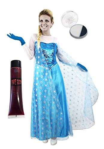 Frozen Ice Kostüm Queen - Erwachsene 's Zombie Ice Queen Snow Princess Halloween Fancy Kleid animierte Film Charakter Kostüm - Snow Queen Kleid mit Blut & Facepaint