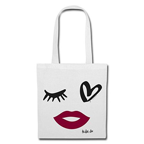 Spreadshirt Eye Love Abstraktes Gesicht Stoffbeutel Weiß