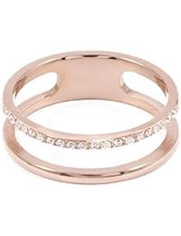Happiness Boutique Damas Anillo de Banda Doble en Oro Rosa   Anillo Doble con Diamantes de Imitación Joyería de Acero Inoxidable