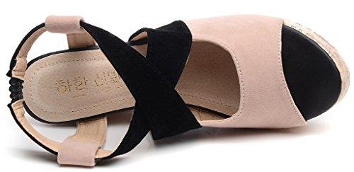 Odema estate delle donne Peep Toe tacco alto sandali con zeppa piattaforma della pompa albicocca