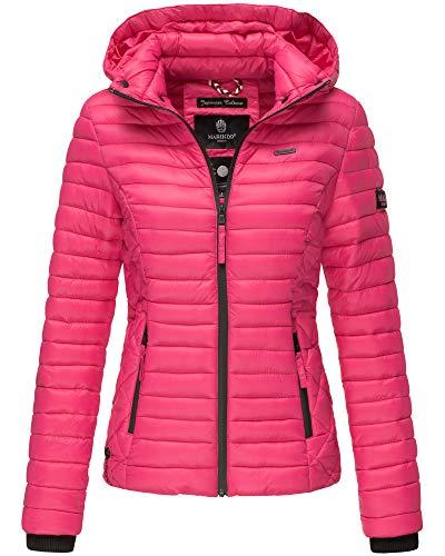 Marikoo Damen Übergangs Steppjacke Herbst Winter Jacke mit Kapuze 19 Farben mit Camouflage XS - XXL Samtpfote (L, Pink) - Winter Kapuze Jacke