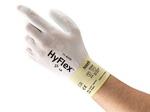 Ansell HyFlex 11-600 Mehrzweckhandschuhe, Mechanikschutz, Weiß, Größe 7 (12 Paar pro Beutel) -