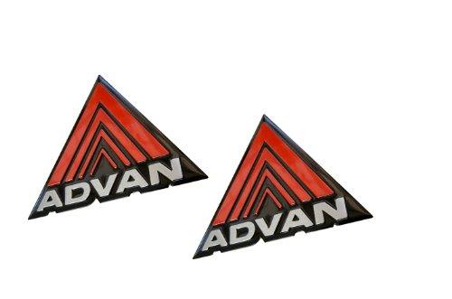 2 x (Pair / Set) Advan Aluminum Engine Hood Emblem Badge Nameplate Yokohama JDM Rare