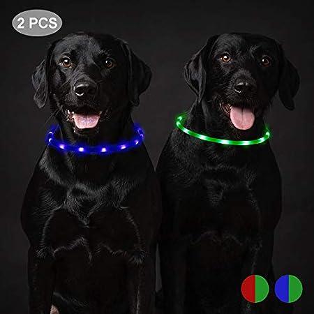 Toozey 2 Stücke LED Leuchthalsband Hund für 20 Stunden Dauerlicht Wasserdicht, USB Wiederaufladbar Schneidbar Nacht-Sicherheit Hundehalsband Leuchtband für Hunde und Katzen – 3 Modus