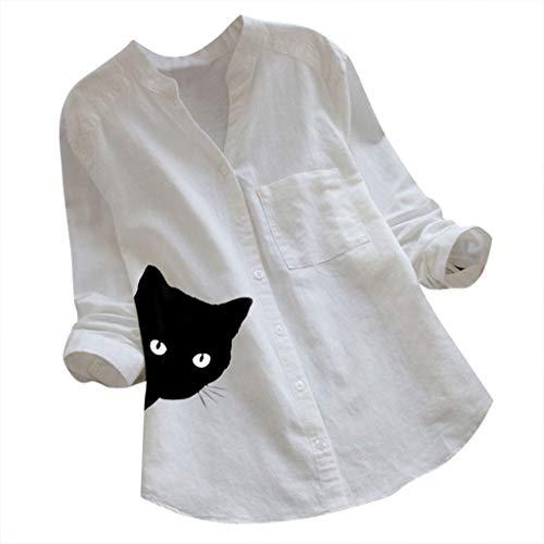 Kolila Damen Linen Shirts Hemden Cute Katze Gedruckt Tops Casual Langarmshirts Bluse Tunika Oberteile mit Tasche