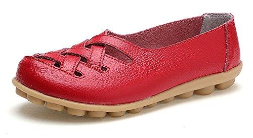 Leder Flache Schuhe (Eagsouni Damen Mokassins Bootsschuhe Leder Loafers Schuhe Flatschuhe Halbschuhe Flache Fahren Halbschuhe Slippers)