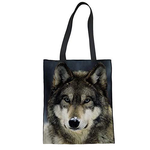 ZXXFR Frauen Versand Tasche Wolf Drucken Canvas Tote Bag Für Damen Jugendlicher Mädchen Täglich Bettwäsche Schultertasche Mode, 6834 Z 22.