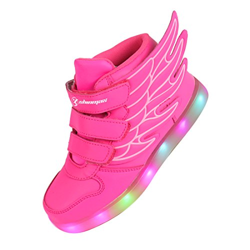 Angin-tech ® 7 Colors USB Charging Kid Casual Shoes Flashing Sneakers of boy and girl for Christmas thanks giving (32, Pink)