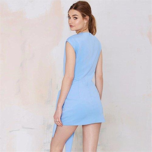 QIYUN.Z La Lumiere De La Mode Des Femmes Bleu Charme Mince Robe De Soiree Plissee Tunique Robe Courte Bleu clair