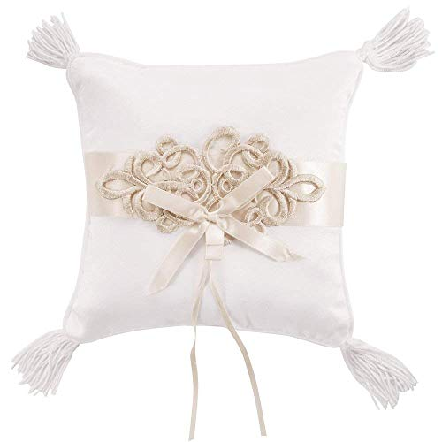 Ringkissen Hochzeit weiß mit Satinband Schleife Quaste Vintage Handgemacht Stickerei Ehering Träger Kissen ivory Hochzeitsringkissen für Brautpaar