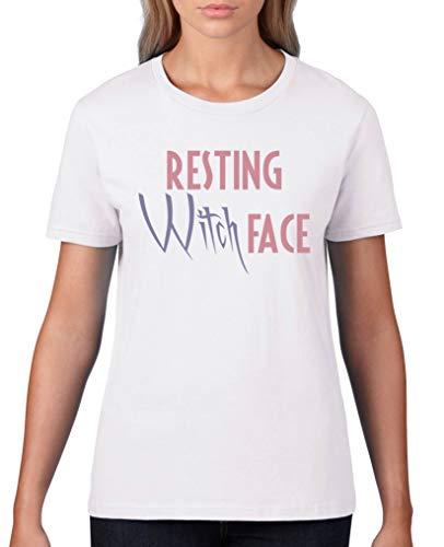 Comedy Shirts - Resting Witch face - Damen T-Shirt - Weiss/Rosa-Violett Gr. L