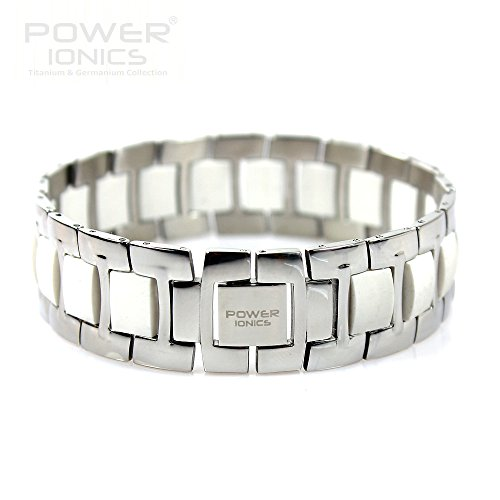 Power Ionics Bracelet Armband Powerarmband PowerIonics Ionenarmband Energie Wristband Magnet Armband 3000 Ions Smart Sports Bracelet Wristband PT060 (white/silver)