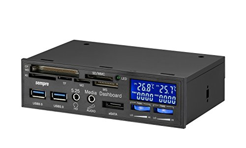 "Sempre MP-5U3LCD 5.25\"" MultiFrontpanel 1x eSATA 2x USB3.0 mit 19Pin USB3.0 DualPort direkt auf Mainboard mit 2 x Lüftersteuerung LCD Anzeige"
