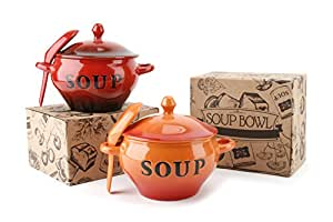 Red Or Orange Glazed Soup Bowls (Orange)