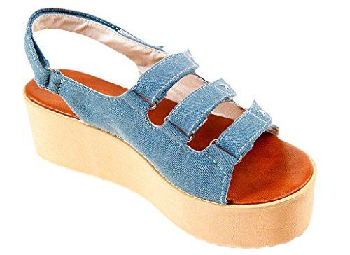 La Vogue Sandale Compensé Plateforme Spartiate Chaussure Casual Marche Bout Ouvert Plage Eté Clair