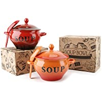 Red Or Orange Glazed Soup Bowls (Red)