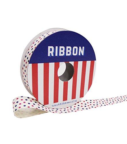 e mit Americana 1,6cm X 9'elfenbein mit Rot & Blau Punkte ()