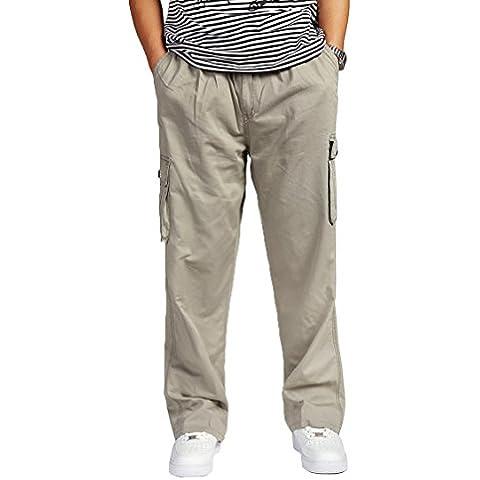 Pantalone uomo cotone Cargo elastico alto in vita Loose-Fit per