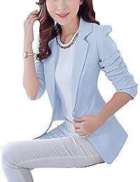 Yonglan Mujer Manga Larga Blazer Oficina Negocios Traje De Chaqueta Slim Fit Outwear Celeste S