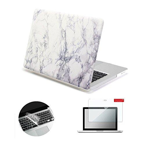 Se7enline Altes MacBook Pro 13-Zoll-Gehäuse 2009-2012 Hartschalen-Kunststoffgehäuse für das MacBook Pro 13-Zoll-Modell A1278, Tastaturabdeckung, Displayschutzfolie, weißer Marmor (13-zoll-fall Pro Macbook 2010)