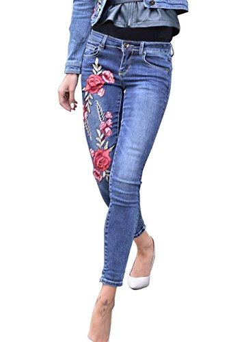 Frauen Denim Skinny Pants Pocket Stretch Leggings in voller Länge Jeans Blue S (Stretch-denim Bestickte)