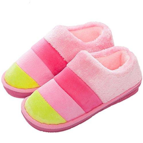 Minetom-Mujer-Hombre-Otoo-Invierno-Zapatillas-De-Estar-Por-Casa-Pareja-Interior-Skidproof-Algodn-Zapatos