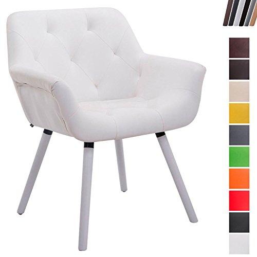 CLP Esszimmerstuhl CASSIDY mit Kunstlederbezug und sesselförmigem gepolstertem Sitz | Retro-Stuhl mit Armlehne und einer Sitzhöhe von 46 cm | Bis zu 150 kg belastbarer Polsterstuhl Weiß, Holzgestell Farbe weiß (Weiß Polsterstuhl)