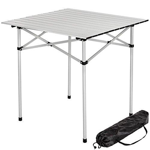 Bakaji Tavolo Tavolino Camper Campeggio Picnic in Alluminio Pieghevole Arrotolabile Salvaspazio 70x70x70cm