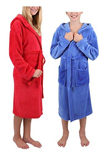 Betz Kinder Bademantel mit Kapuze Kinderbademantel Jungen Mädchen Farben blau und rot Größe 176 / blau