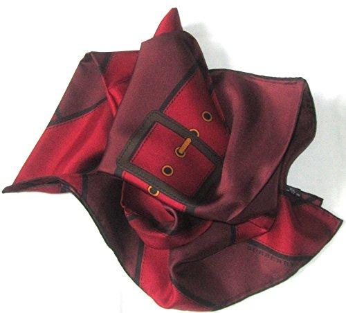 burberry-seidentuch-98-x-98cm-rot-schwarz-mit-grtelschnallenmotiv-scarve