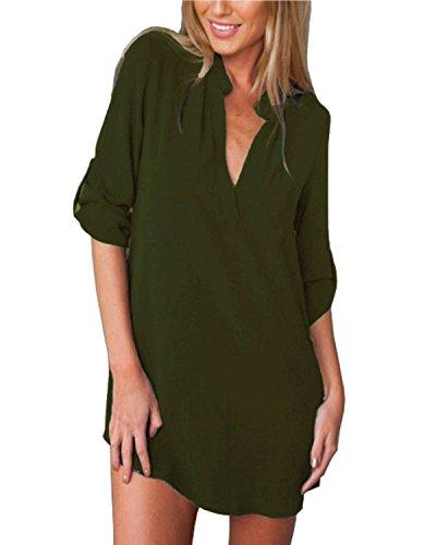 Top Tunika T-shirt Kleid (ZANZEA Damen V-Ausschnitt Chiffon Langarm Slim Oversize T-Shirt Bluse Lose Tops Armee Grün EU 48/US 16)
