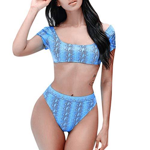 LMRYJQ Damen Bademode Bikini Set Tankini Frauen Snake Print Push-up Gepolsterter BH Badeanzug Wasserkleidung Strandkleidung Hohe Taille (Plus Size Snake Print Leggings)
