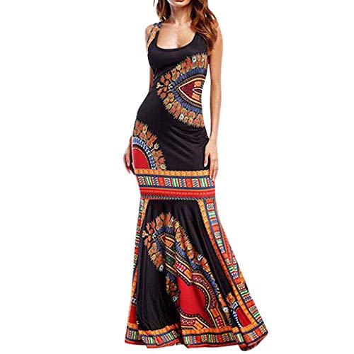 kolila Damen Boho Kleid Maxi Kleider Ethnische Blumendruck Ärmellos Bodycon Urlaub Party Strand Lässige Lange Kleider